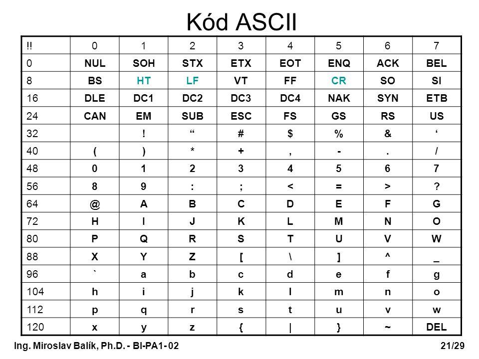 Kód ASCII !! 1 2 3 4 5 6 7 NUL SOH STX ETX EOT ENQ ACK BEL 8 BS HT LF