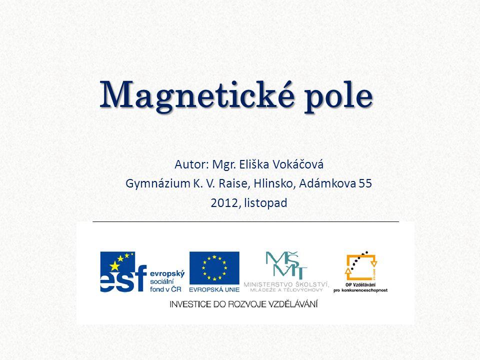 Magnetické pole Autor: Mgr. Eliška Vokáčová