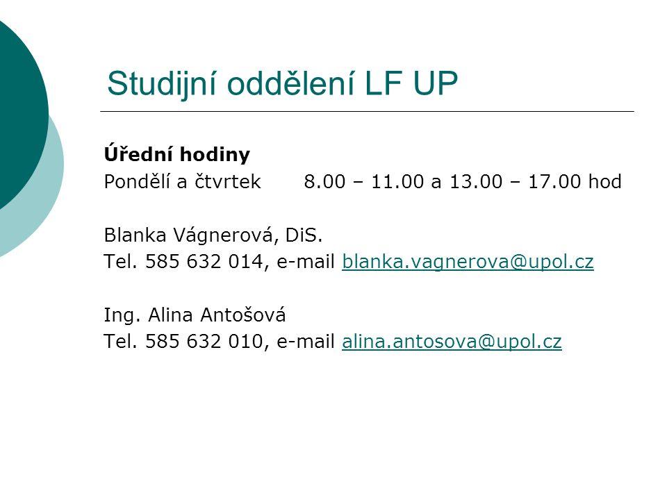Studijní oddělení LF UP