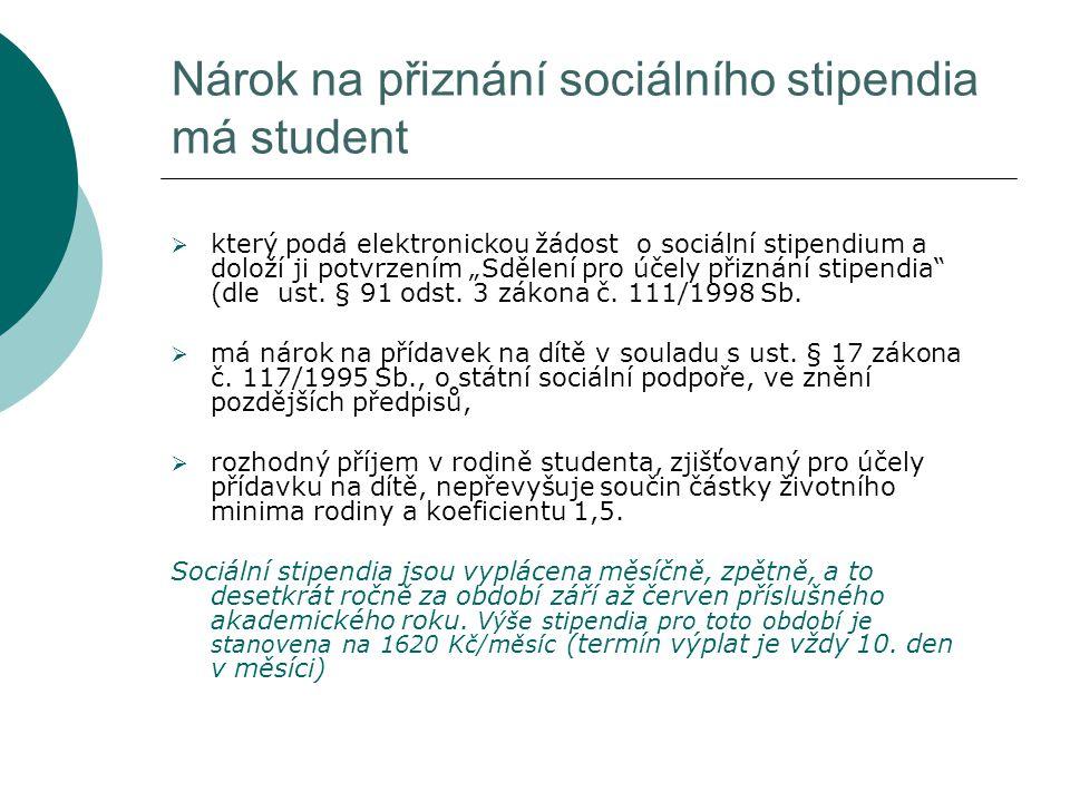 Nárok na přiznání sociálního stipendia má student