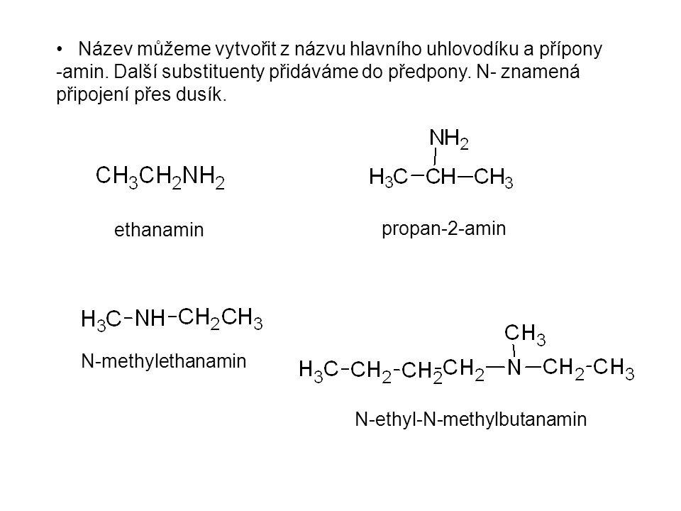 Název můžeme vytvořit z názvu hlavního uhlovodíku a přípony -amin