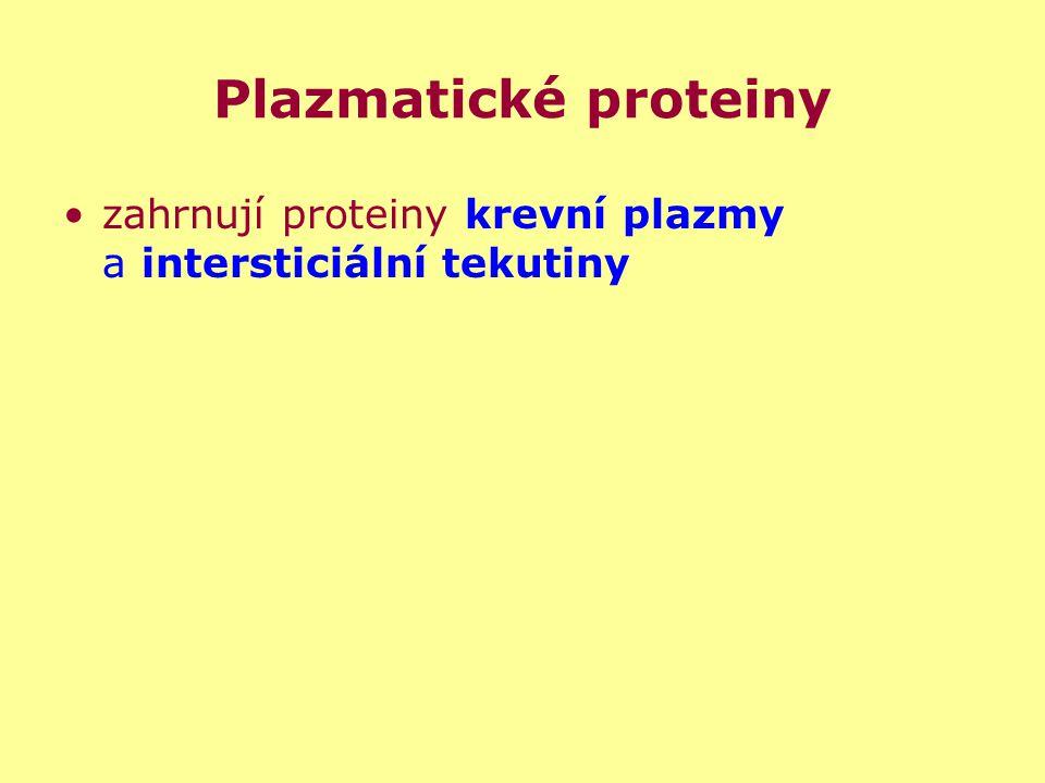 Plazmatické proteiny zahrnují proteiny krevní plazmy a intersticiální tekutiny