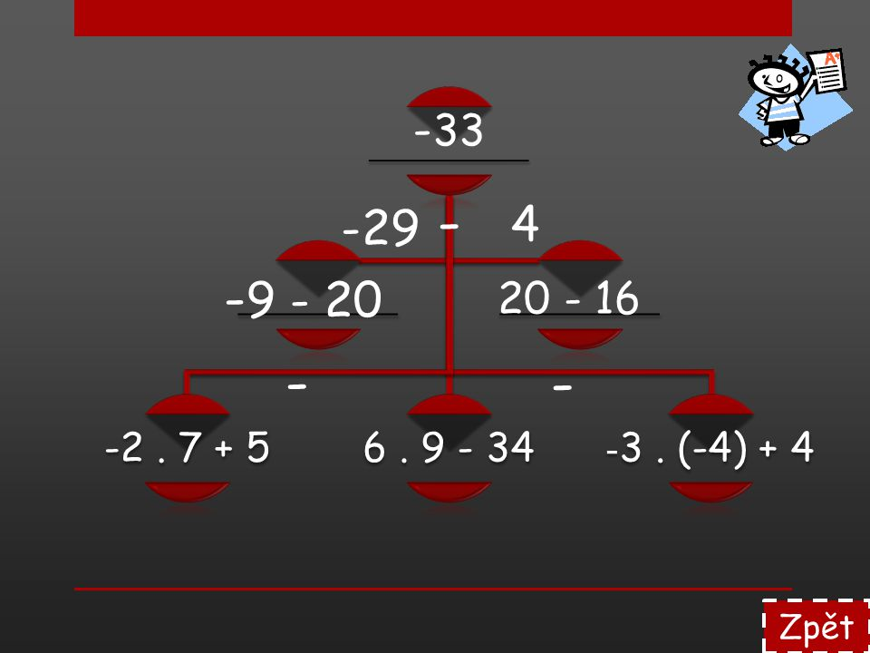 ________ -2 . 7 + 5 6 . 9 - 34 -3 . (-4) + 4 -33 - -29 4 -9 - 20 20 - 16 - - Zpět