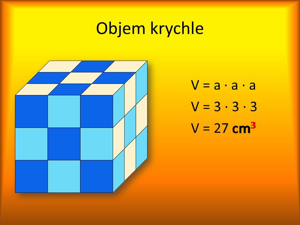 Objem krychle V = a ∙ a ∙ a V = 3 ∙ 3 ∙ 3 V = 27 cm3 cm3