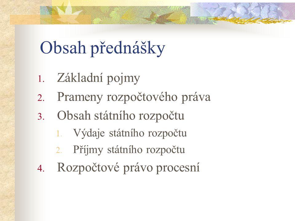 Obsah přednášky Základní pojmy Prameny rozpočtového práva