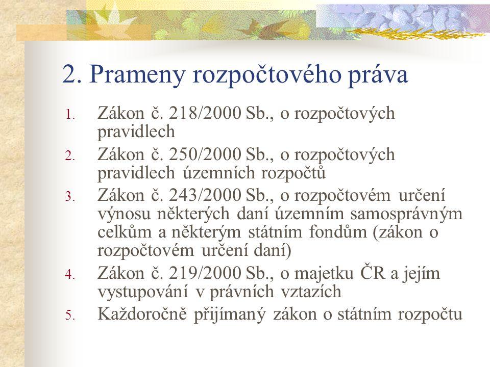2. Prameny rozpočtového práva