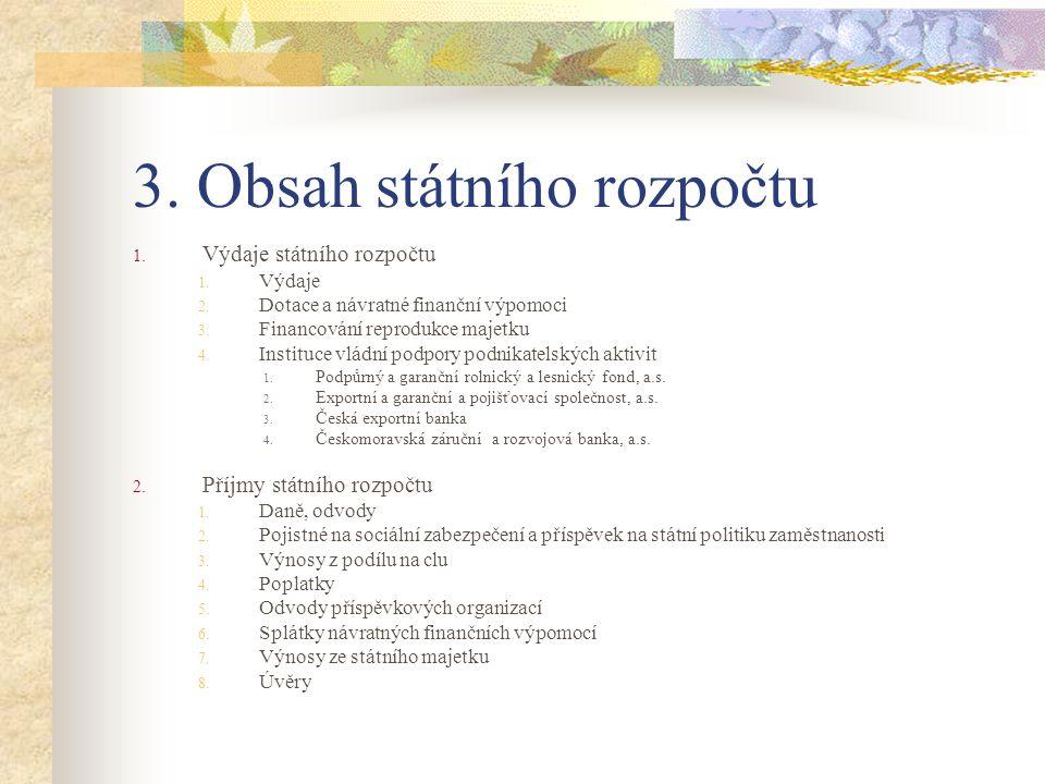 3. Obsah státního rozpočtu