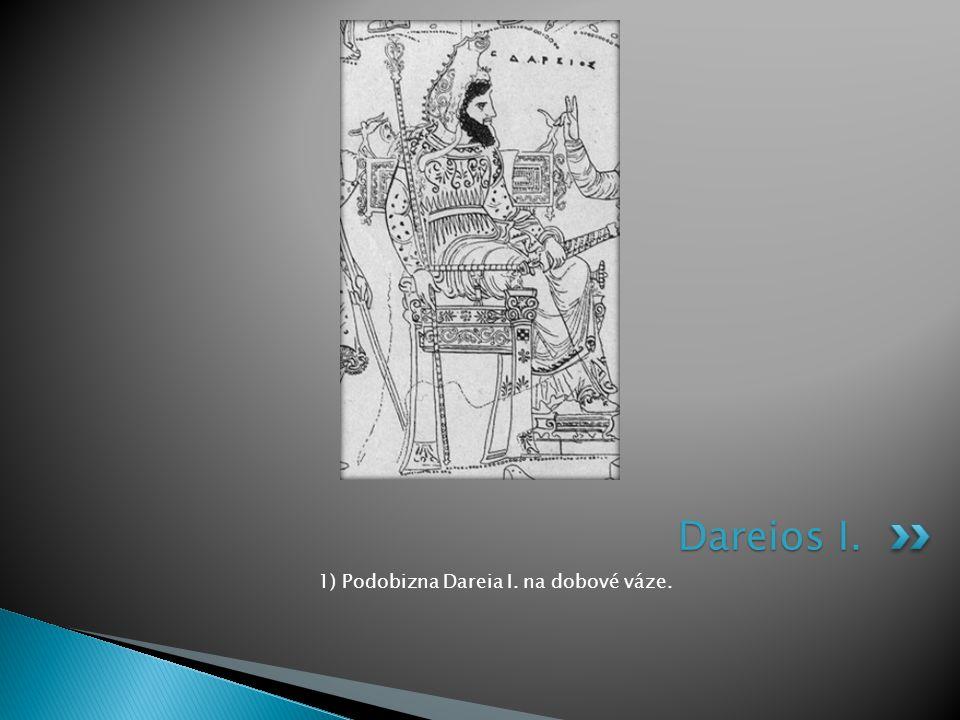 1) Podobizna Dareia I. na dobové váze.