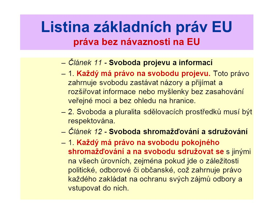 Listina základních práv EU práva bez návaznosti na EU