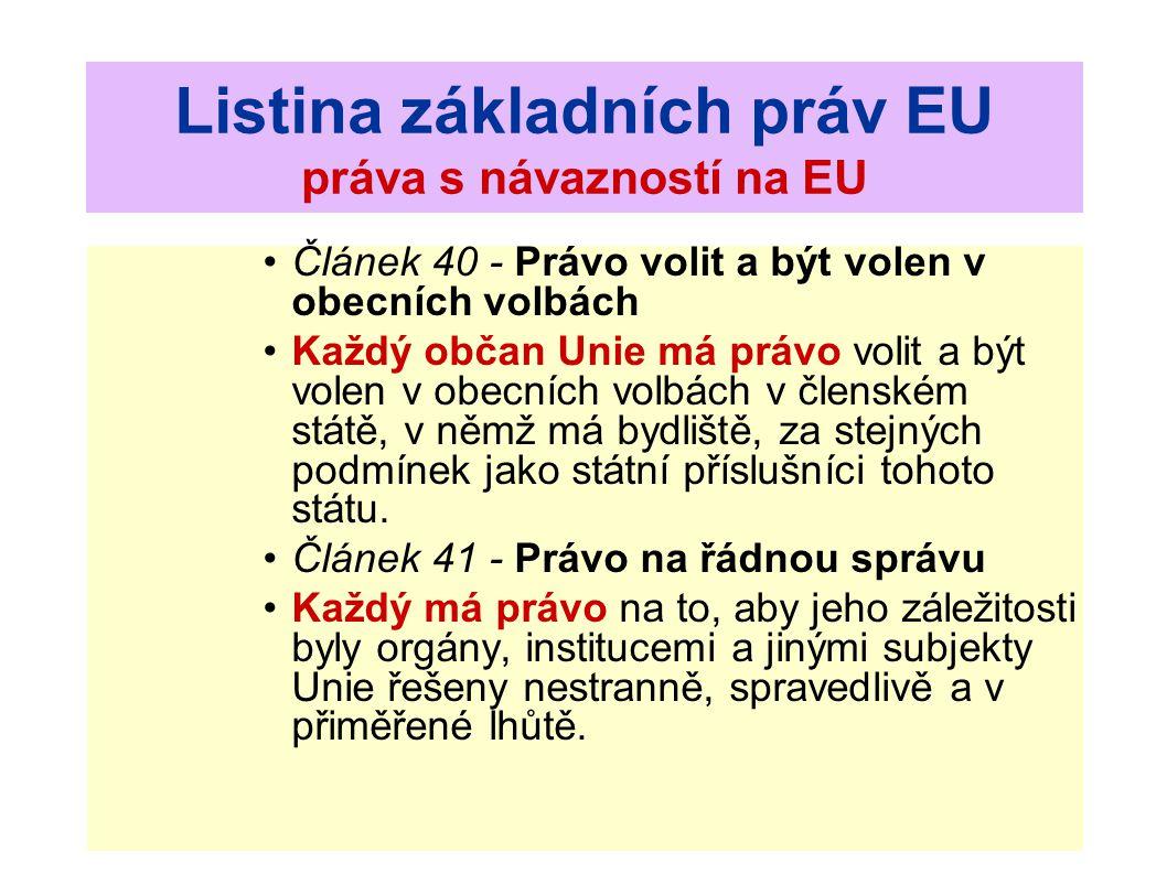 Listina základních práv EU práva s návazností na EU