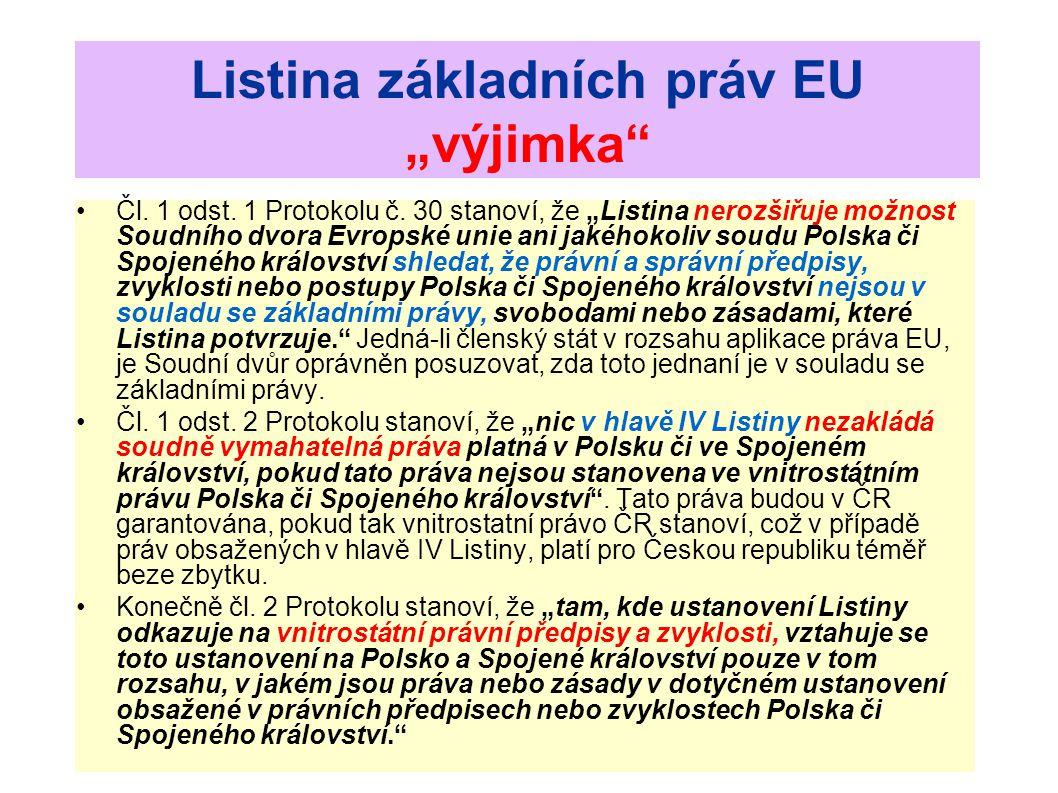 """Listina základních práv EU """"výjimka"""