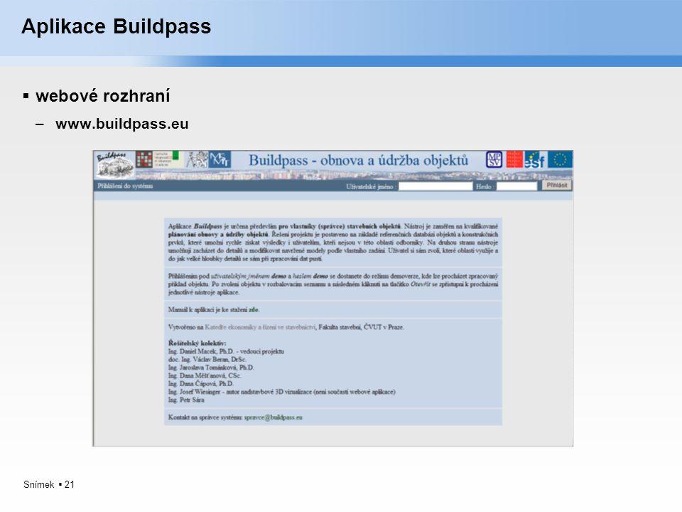 Aplikace Buildpass webové rozhraní www.buildpass.eu