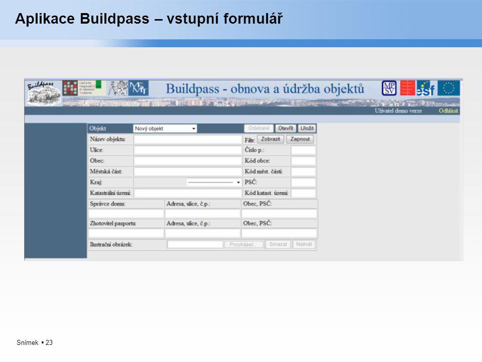 Aplikace Buildpass – vstupní formulář
