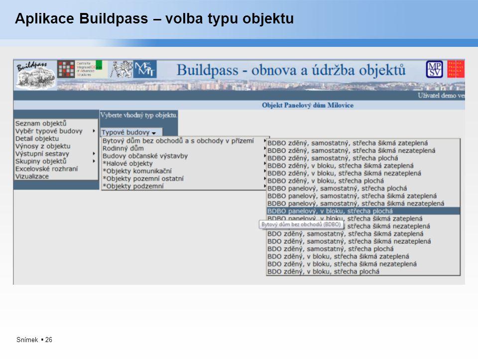 Aplikace Buildpass – volba typu objektu