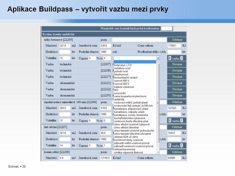 Aplikace Buildpass – vytvořit vazbu mezi prvky
