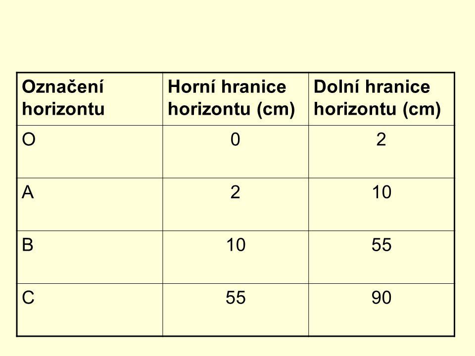 Označení horizontu Horní hranice horizontu (cm) Dolní hranice horizontu (cm) O 2 A 10 B 55 C 90