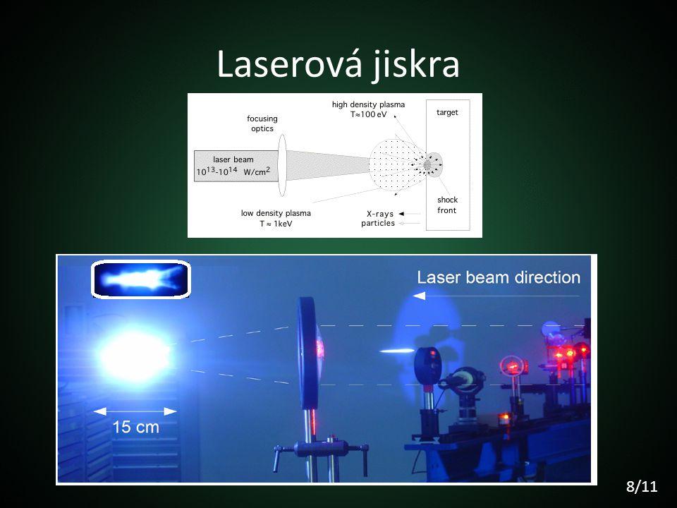 Laserová jiskra Laserová jiskra je jev, který vzniká při fokusování laserového záření v plynném prostředí.