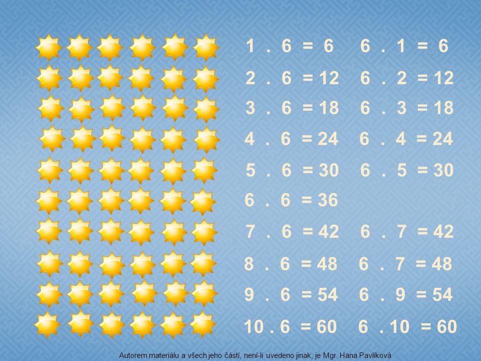 1 . 6 = 6 6 . 1 = 6 2 . 6 = 12 6 . 2 = 12. 3 . 6 = 18 6 . 3 = 18. 4 . 6 = 24 6 . 4 = 24.