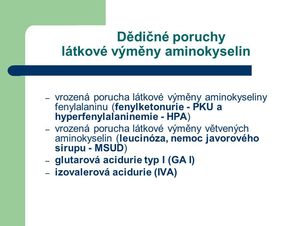 Dědičné poruchy látkové výměny aminokyselin
