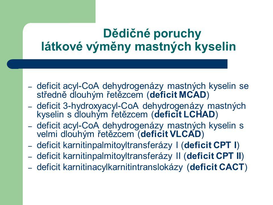 Dědičné poruchy látkové výměny mastných kyselin
