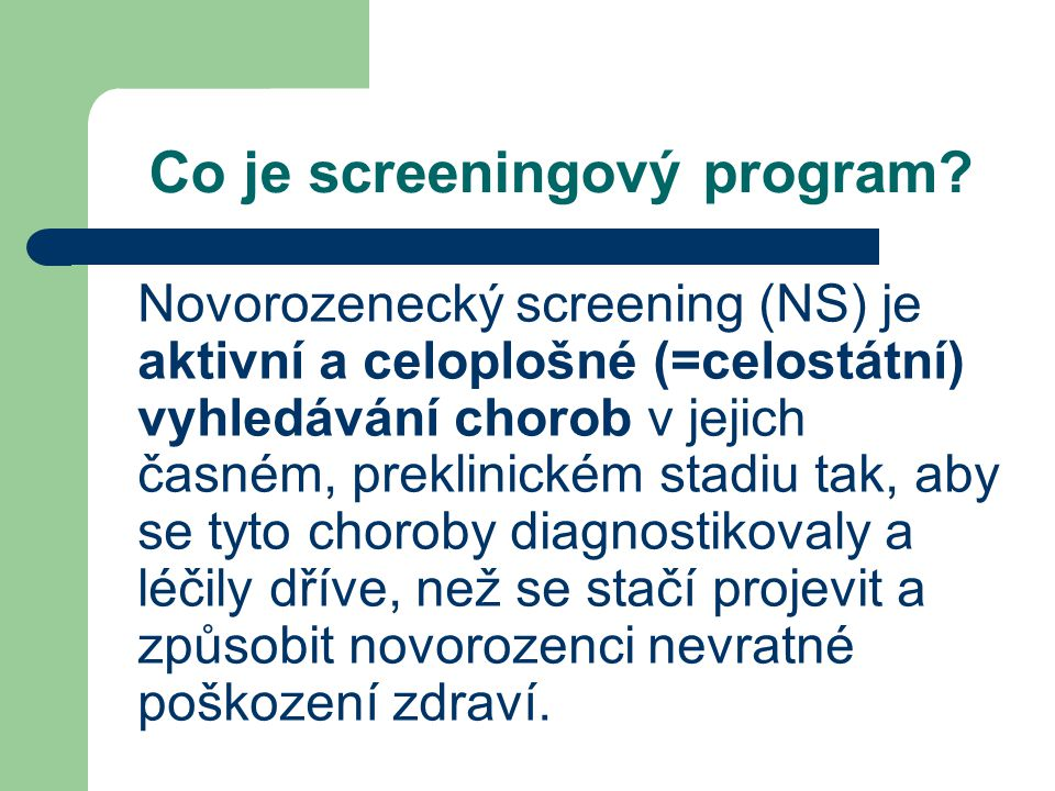 Co je screeningový program