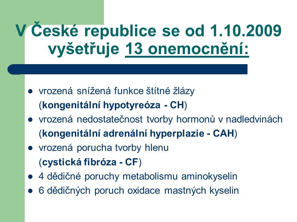 V České republice se od 1.10.2009 vyšetřuje 13 onemocnění: