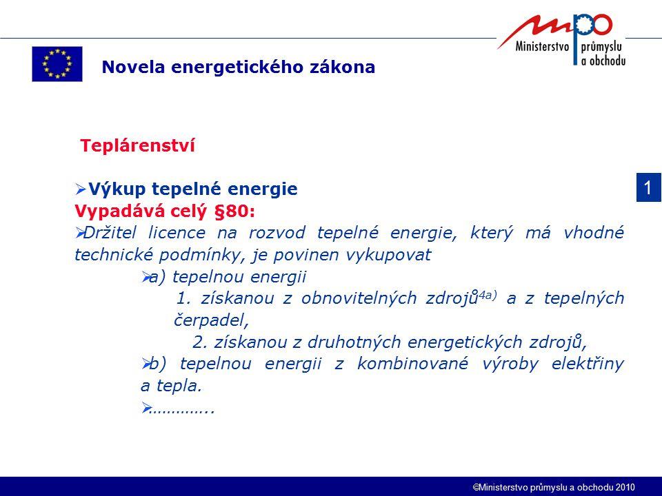 1 Novela energetického zákona Teplárenství Výkup tepelné energie