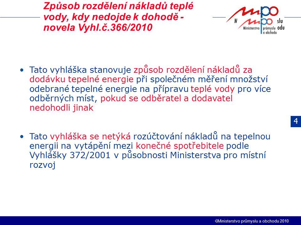 Způsob rozdělení nákladů teplé vody, kdy nedojde k dohodě - novela Vyhl.č.366/2010