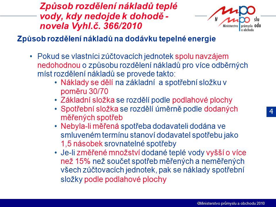 Způsob rozdělení nákladů teplé vody, kdy nedojde k dohodě - novela Vyhl.č. 366/2010