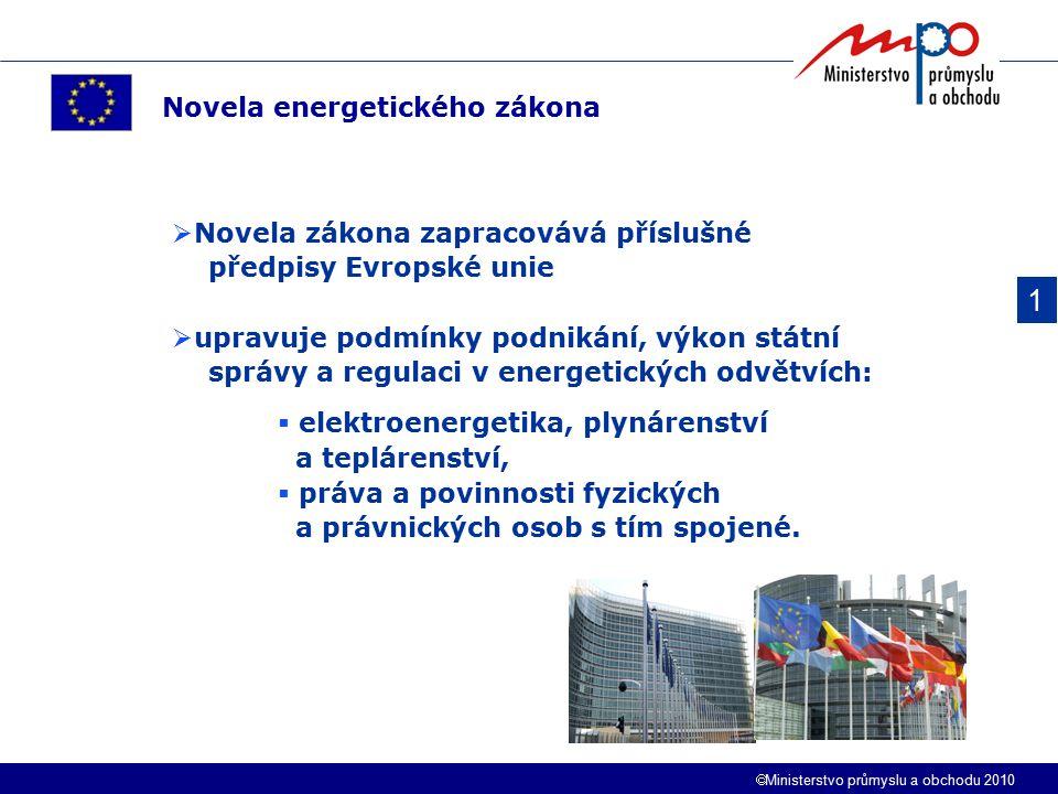 1 Novela energetického zákona Novela zákona zapracovává příslušné