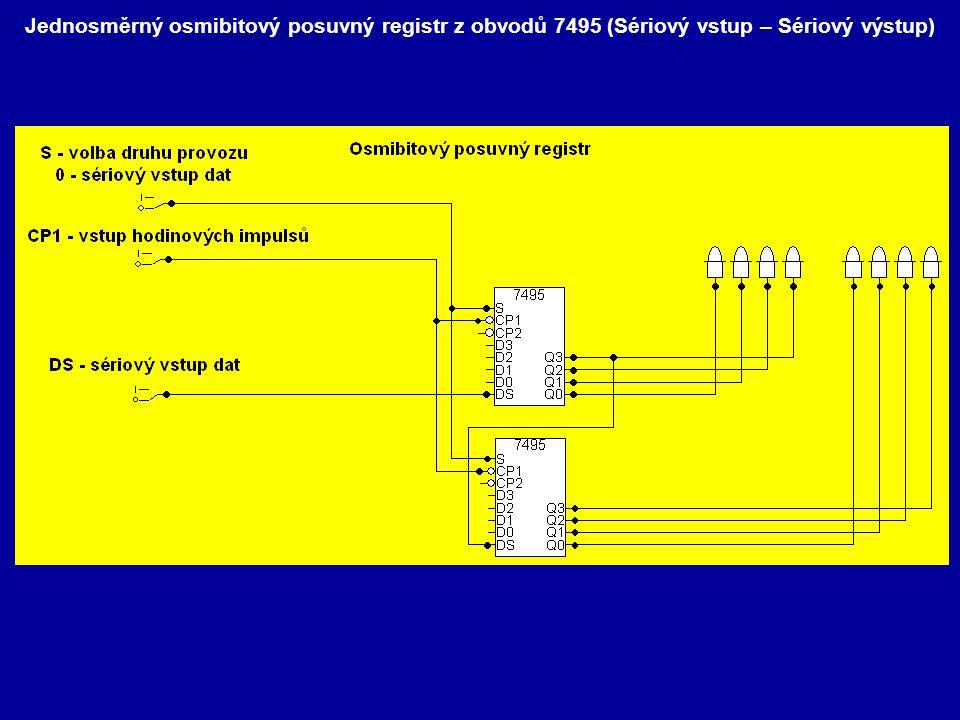 Jednosměrný osmibitový posuvný registr z obvodů 7495 (Sériový vstup – Sériový výstup)