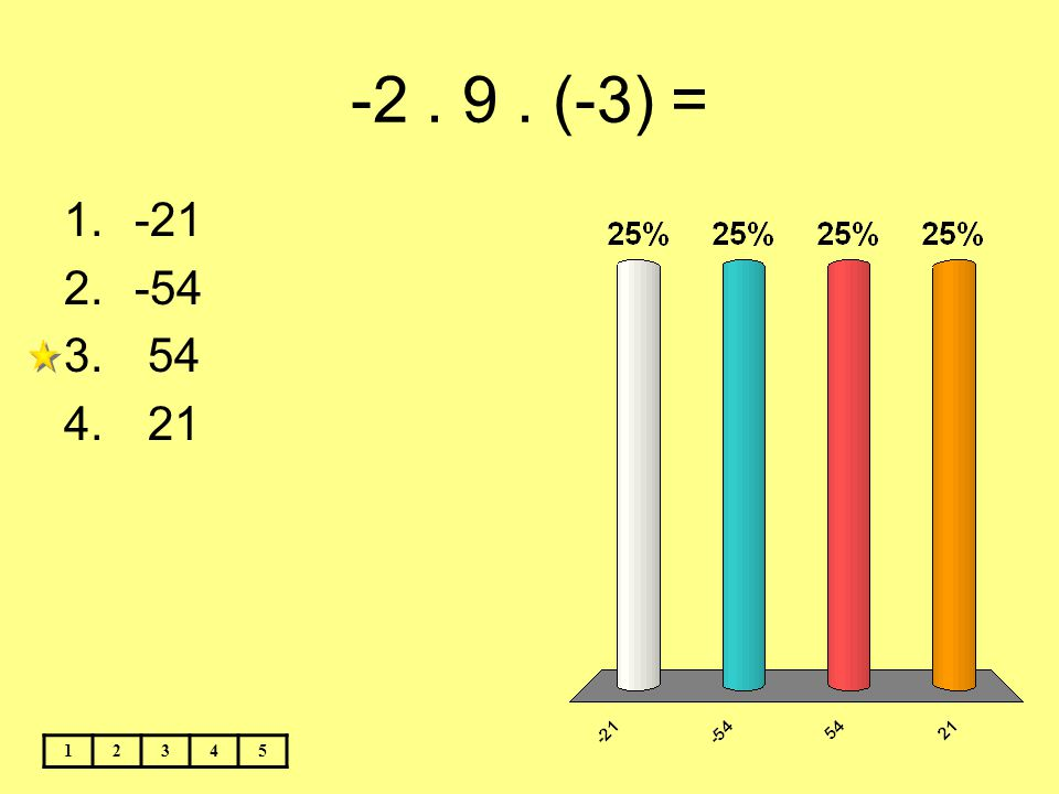 -2 . 9 . (-3) = -21 -54 54 21 1 2 3 4 5