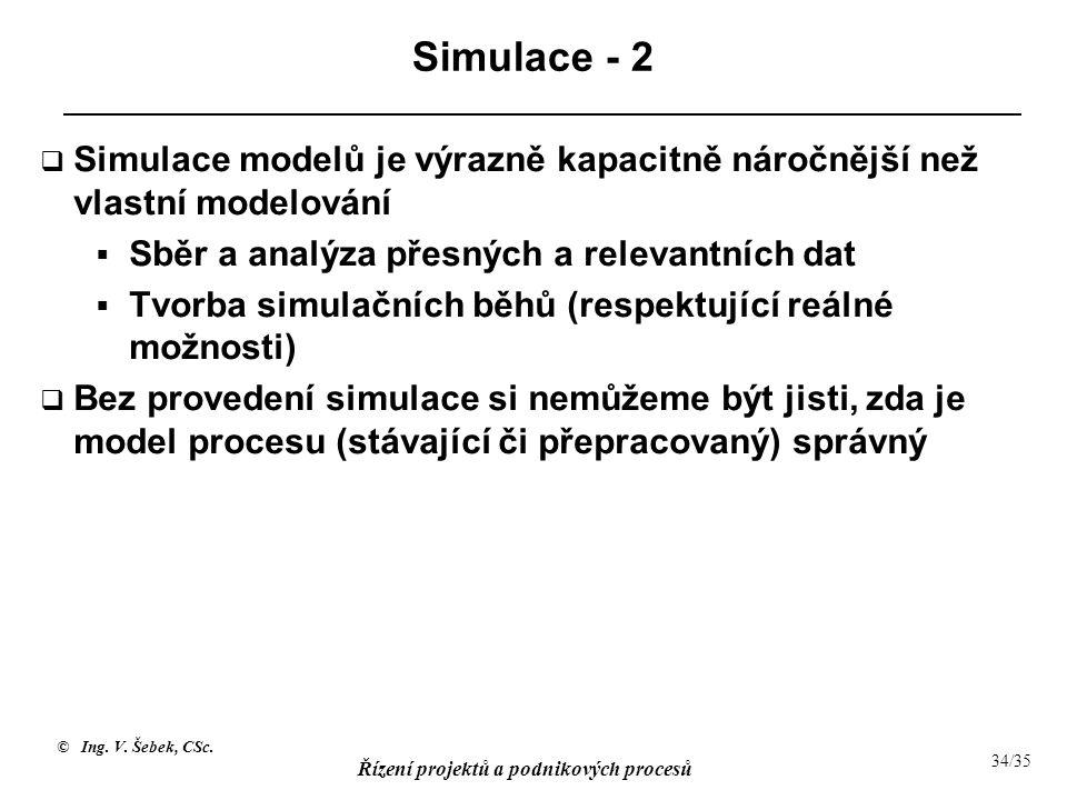 Simulace - 2 Simulace modelů je výrazně kapacitně náročnější než vlastní modelování. Sběr a analýza přesných a relevantních dat.
