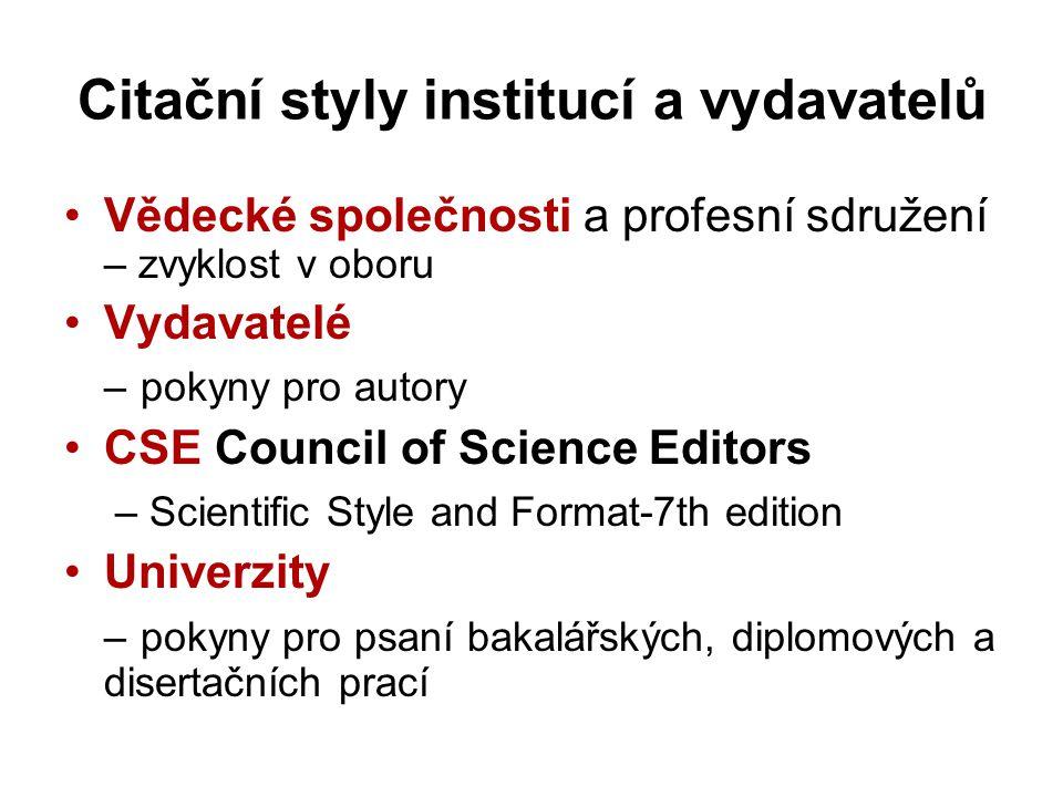 Citační styly institucí a vydavatelů