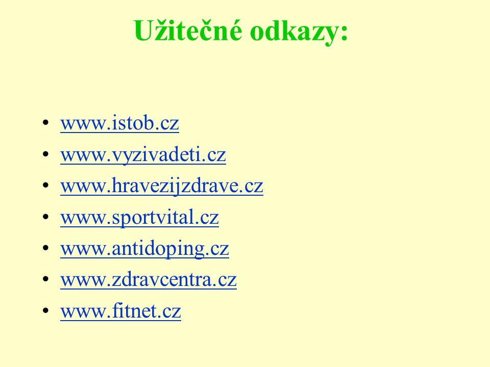 Užitečné odkazy: www.istob.cz www.vyzivadeti.cz www.hravezijzdrave.cz