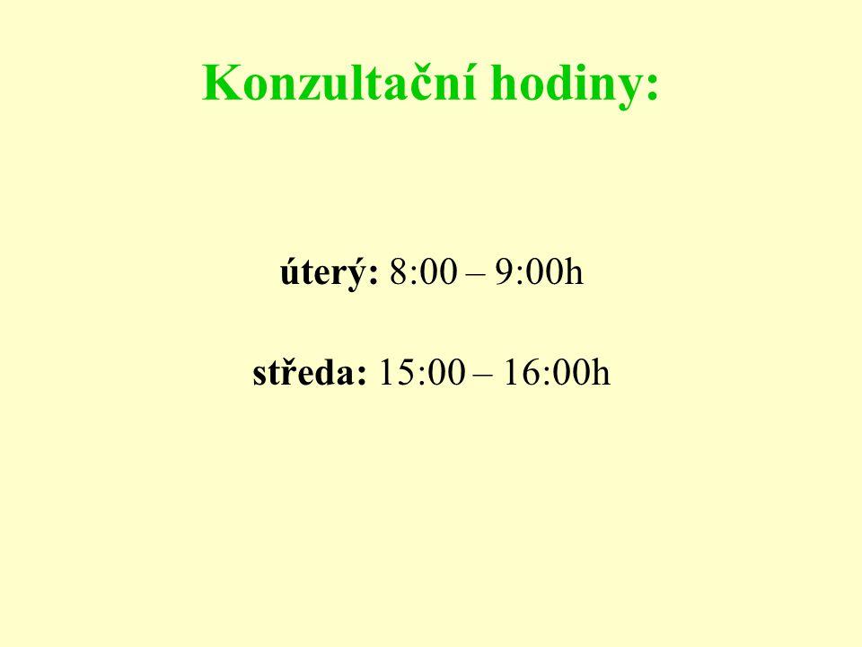 Konzultační hodiny: úterý: 8:00 – 9:00h středa: 15:00 – 16:00h