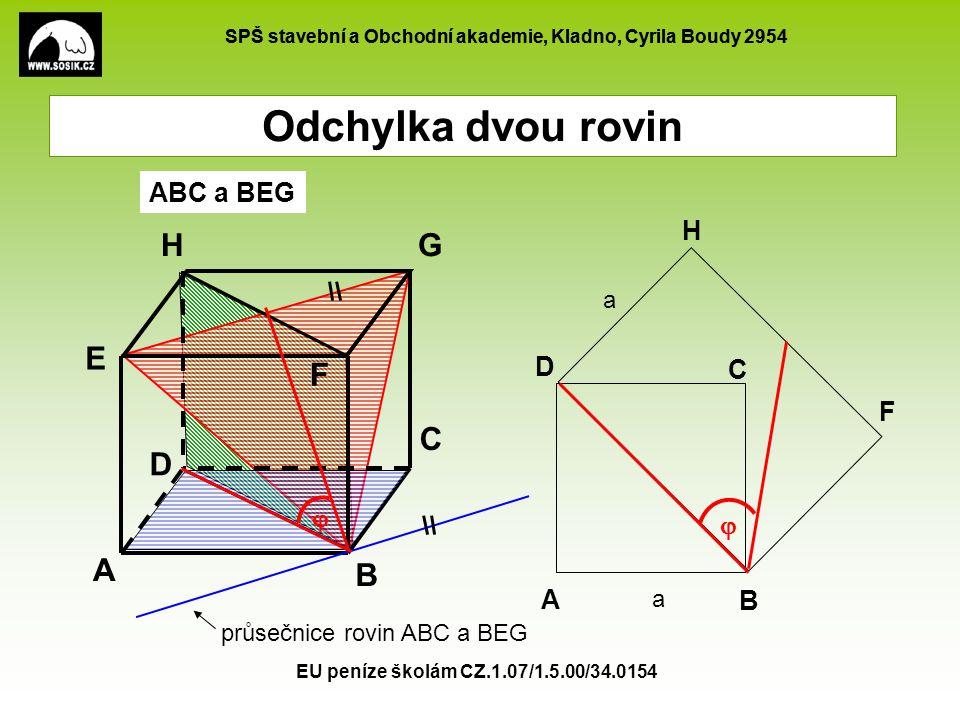 Odchylka dvou rovin H G E F C D A B ABC a BEG H D C F   A B a a