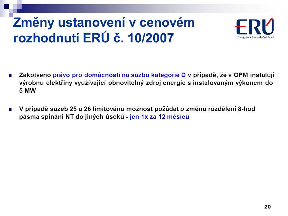 Změny ustanovení v cenovém rozhodnutí ERÚ č. 10/2007