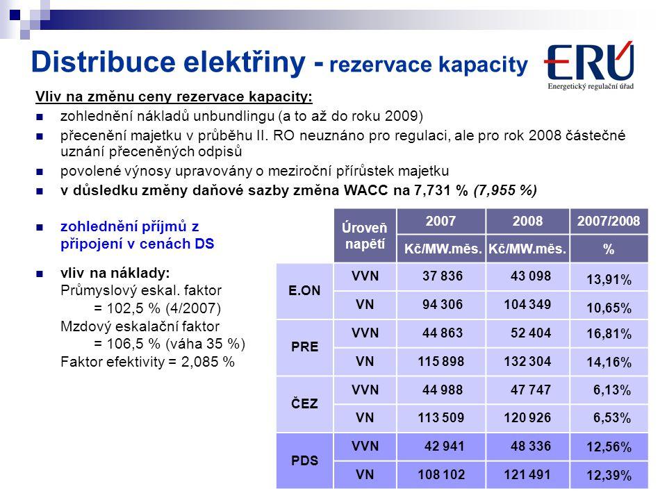 Distribuce elektřiny - rezervace kapacity
