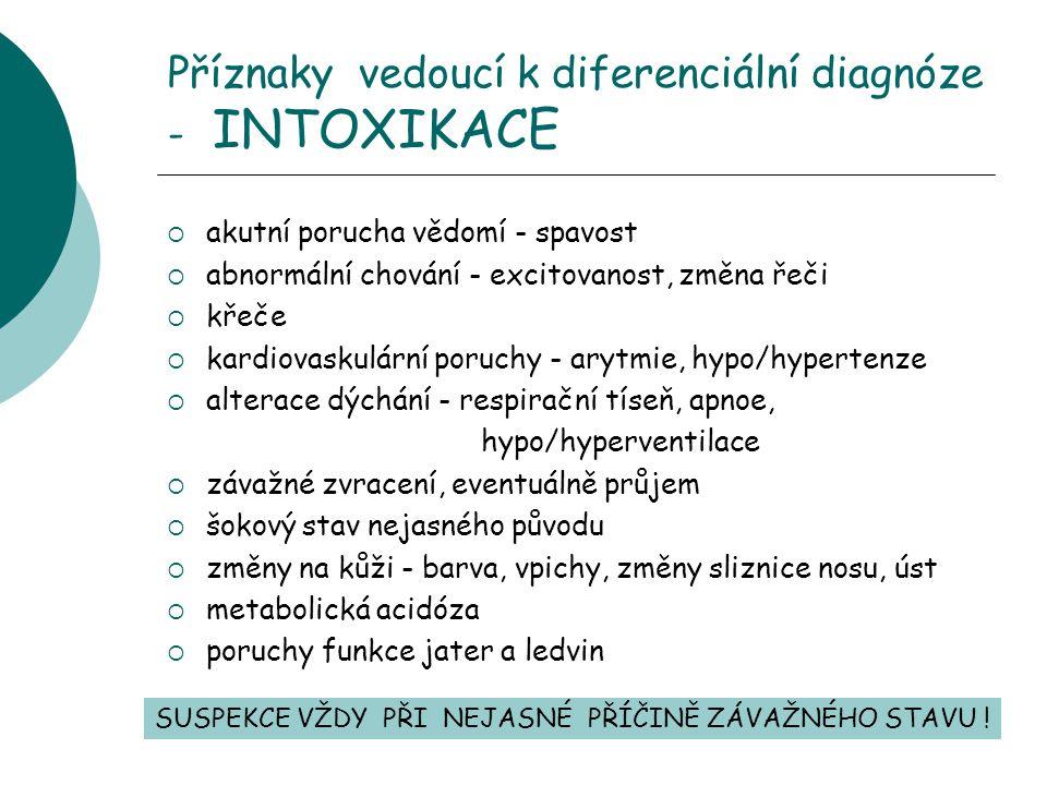 Příznaky vedoucí k diferenciální diagnóze - INTOXIKACE