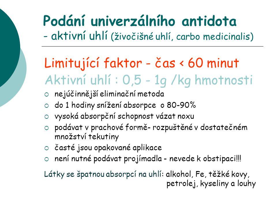 Podání univerzálního antidota - aktivní uhlí (živočišné uhlí, carbo medicinalis)