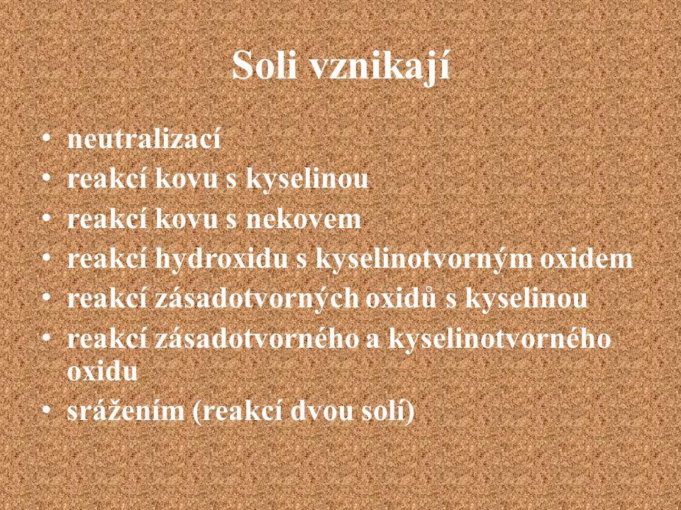 Soli vznikají neutralizací reakcí kovu s kyselinou