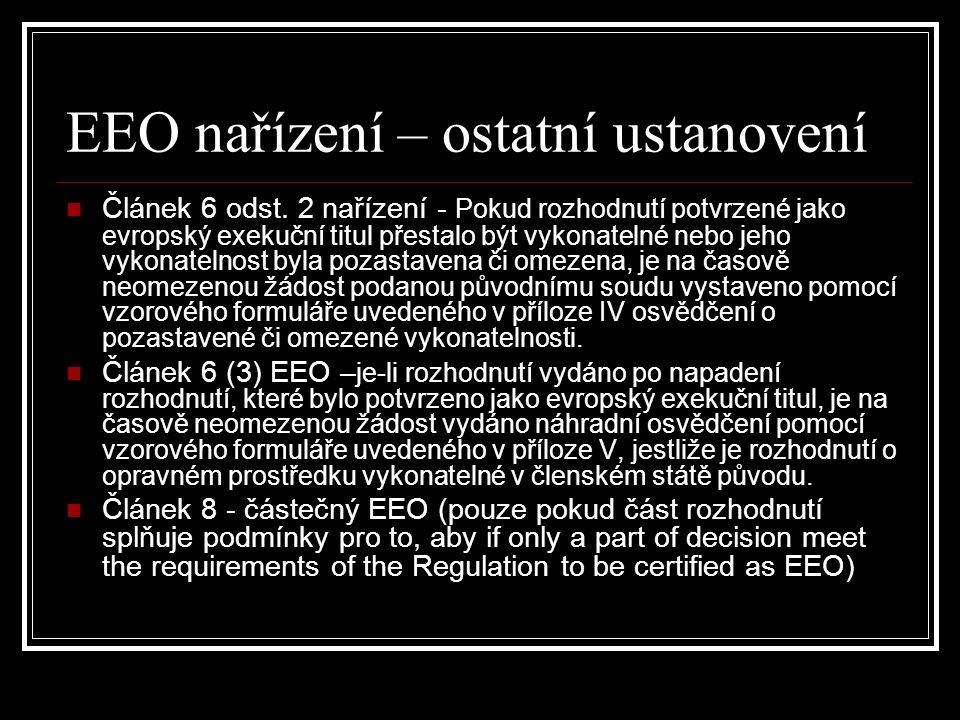 EEO nařízení – ostatní ustanovení