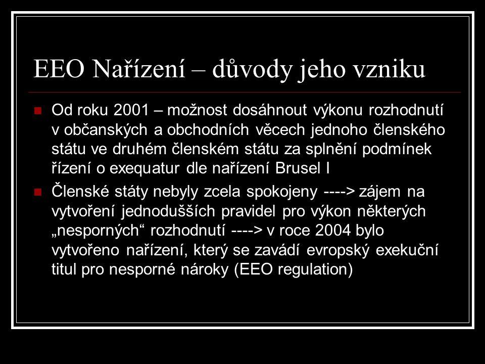 EEO Nařízení – důvody jeho vzniku