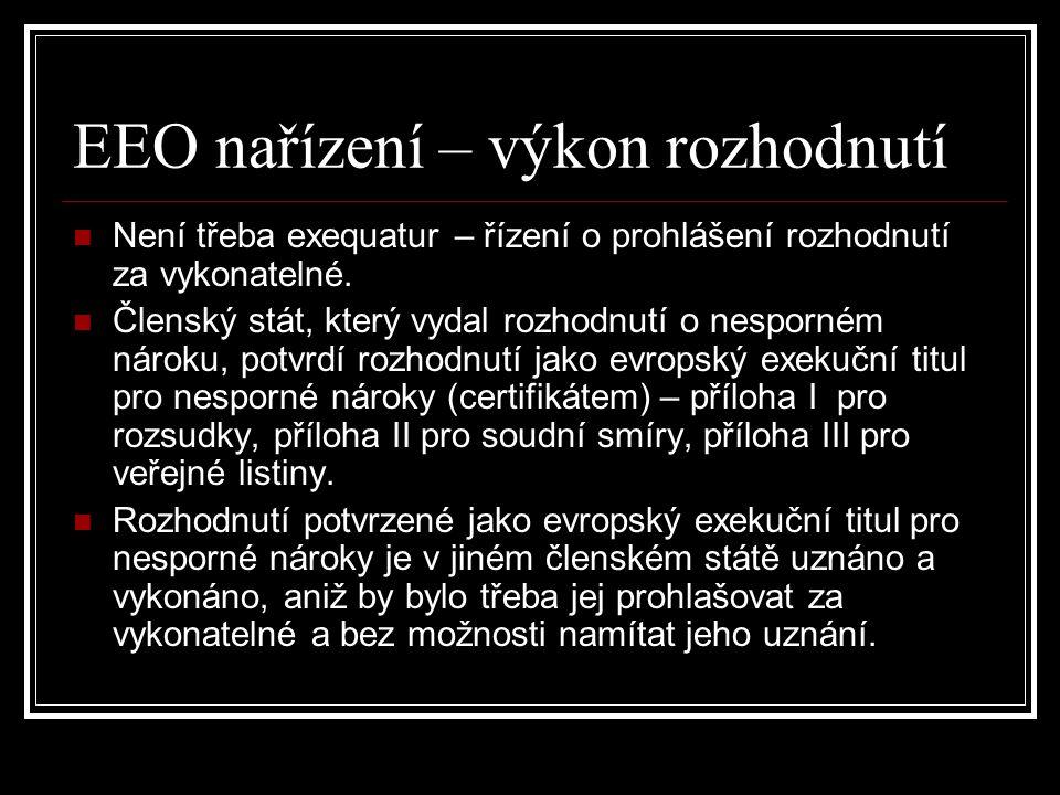 EEO nařízení – výkon rozhodnutí