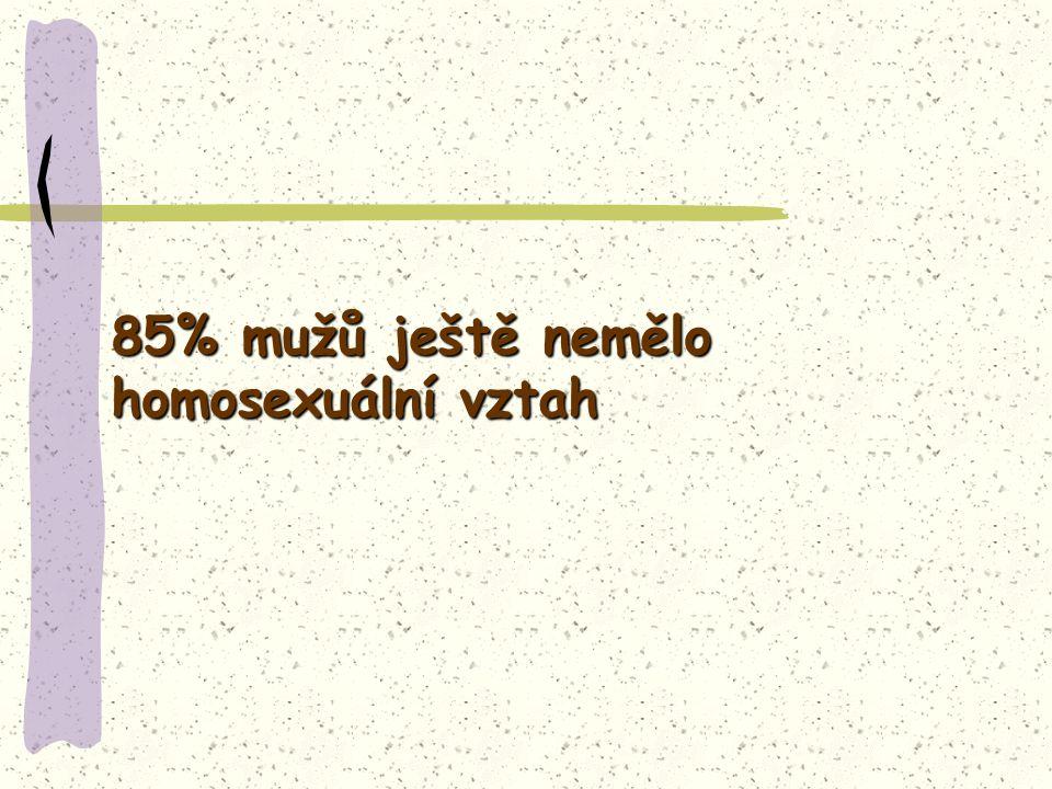 85% mužů ještě nemělo homosexuální vztah