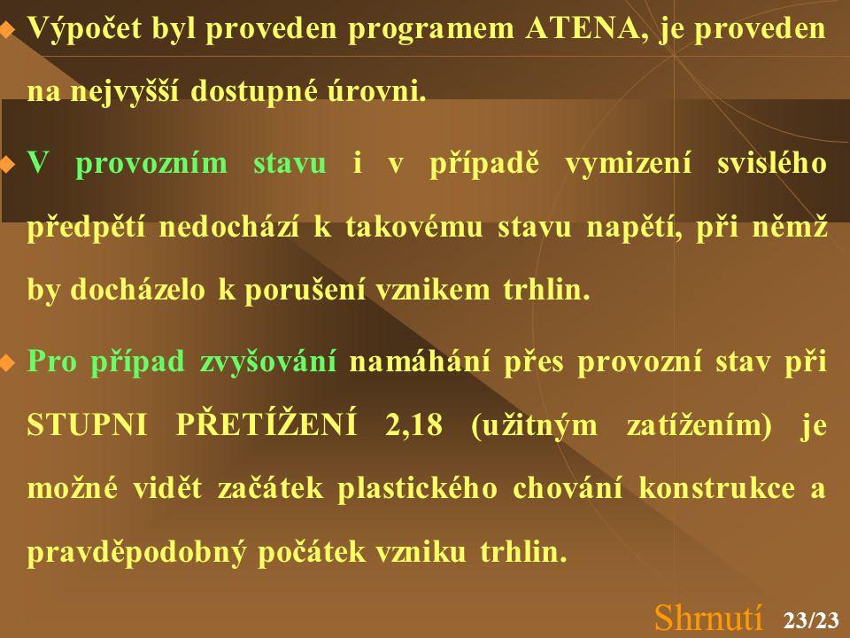 Výpočet byl proveden programem ATENA, je proveden na nejvyšší dostupné úrovni.