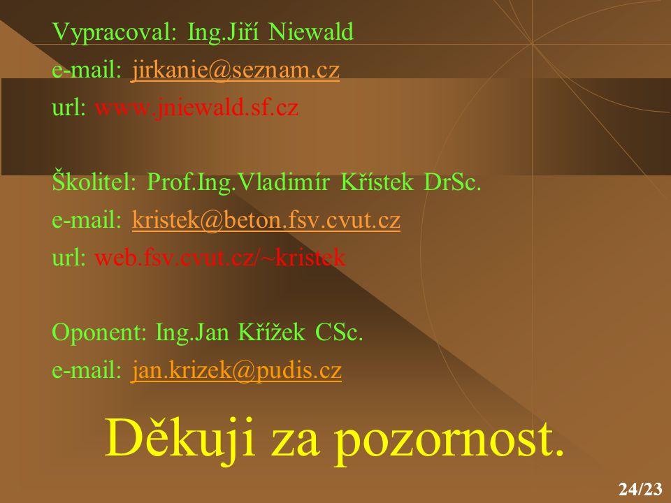 Děkuji za pozornost. Vypracoval: Ing.Jiří Niewald