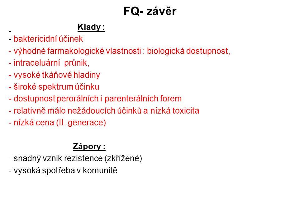FQ- závěr Klady : - baktericidní účinek