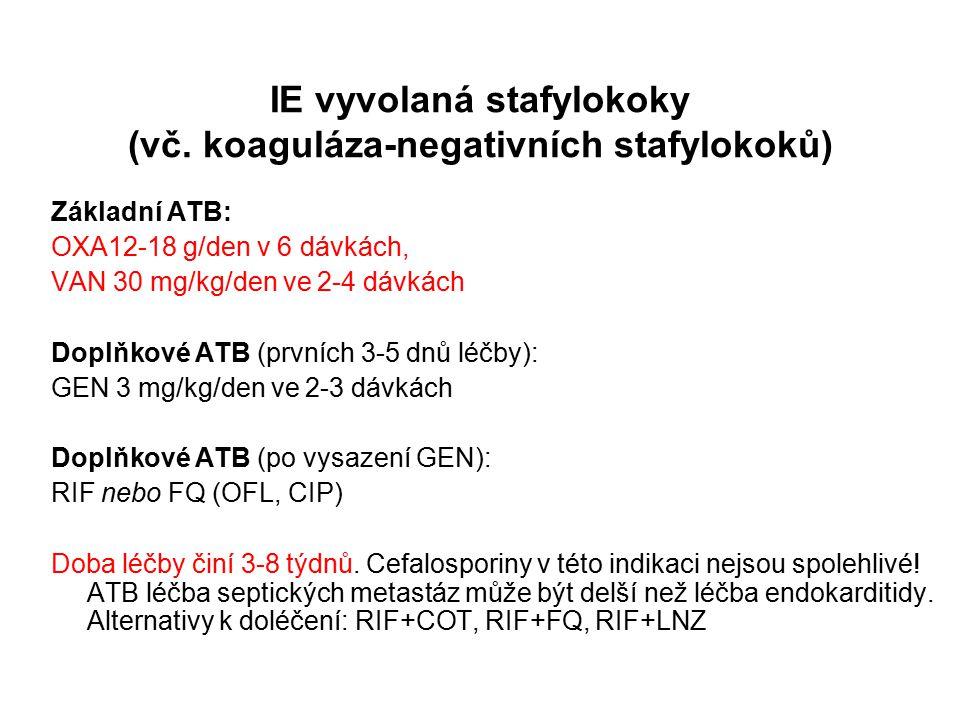 IE vyvolaná stafylokoky (vč. koaguláza-negativních stafylokoků)